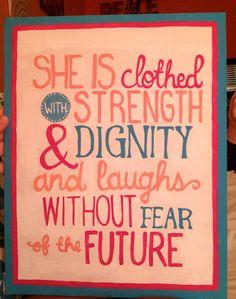 Proverbs 31:25 canvas on Etsy, $18.00