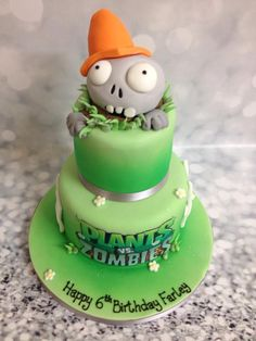 Plants vs Zombies cake Zombie Birthday Cakes, Zombie Birthday Parties, Birthday Fun, Birthday Ideas, Kfc Cake, Zombie Party Decorations, Plantas Versus Zombies, Husband 30th Birthday, Halloween Cakes