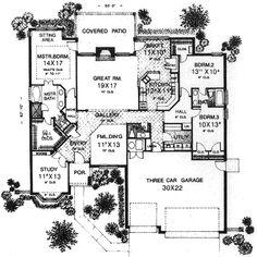 European Style House Plan - 3 Beds 2.5 Baths 2235 Sq/Ft Plan #310-822 Main Floor Plan - Houseplans.com