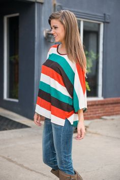 Stripe It Right Now Top, Green-Orange
