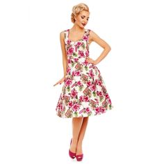 Natalie Retro Floral Swing Dress in Pink Orchid