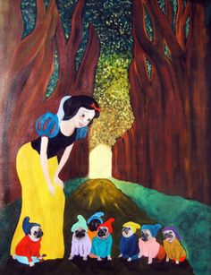 Pug Dog Art Print/Snow White & the Seven Little by dogwagart, $13.50