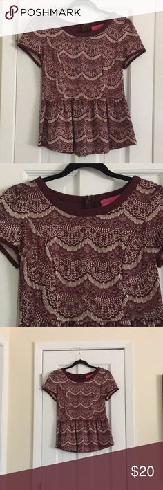 Pookie and Sebastian peplum top Beautiful Pookie and Sebastian peplum top. Red and cream and looks like lace. Size medium. Worn once Pookie and Sebastian Tops Blouses