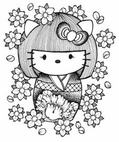 Kokeshi dolls coloring pages, japanese dolls coloring pages Cat Coloring Page, Coloring Pages For Girls, Free Coloring Pages, Printable Coloring Pages, Coloring Books, Adult Coloring, Hello Kitty Coloring, Hello Kitty Tattoos, Kitty Images