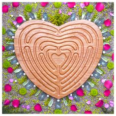 heart labyrinth; love labyrinth; finger labyrinth hospital; hospice; spiritual; healing; tool; chaplain; walking; meditation; journey; prayer; pathway; wood; lap; relaxation; couple therapy; wedding gift; tool; guidance; therapy