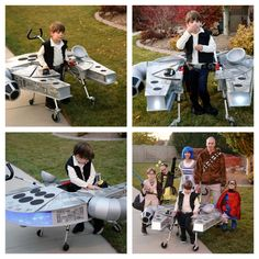Han Solo Millennium Falcon costume, special needs costume, walker and wheelchair costume ideas. Has a Bluetooth speaker that plays the theme music from Star Wars, LED lights, made with gray corrugated plastic. Star Wars Halloween, Holidays Halloween, Halloween Fun, Diy Costumes, Halloween Costumes, Costume Ideas, Falcon Costumes, Han Solo Costume, Wheelchair Costumes