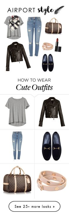 """Cute travel outfit!"" by evyosterloo on Polyvore featuring Gap, The Row, Burberry, River Island, Gucci, Tory Burch and airportstyle"
