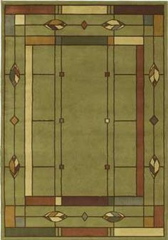 Mission style rug, Arts and Crafts rug. Classic style, today's colors. Machine made olefin. Many sizes for the perfect spot in your home.  Leaf-Olive