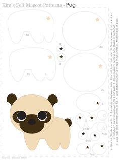 Felt Pug ornament/keychain pattern