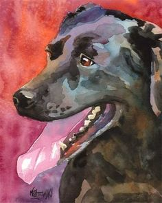 Labrador Retriever Art Print of Original Watercolor Painting - 11x14 Black Lab. $24.50, via Etsy.