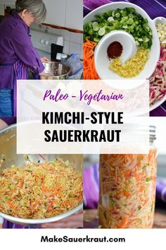 This Kimchi style sauerkraut recipe is fun to make with its many flavors. Korean red pepper powder (Gochugaru) adds heat with ginger and garlic in the background. Why I love this recipe? It connects me to cultures around the world where traditionally fermented foods are still a part of their everyday lifestyle. Available PDF recipe. #paleo #vegetarian