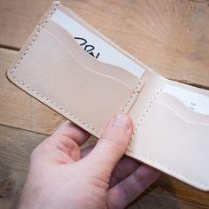 Veg tan traditional bifold wallet - cream stitching.