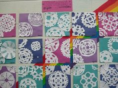 Create a cool color watercolor background.  12x12 paper.  Teach kirigami(Japanese art of cutting paper).  Do this lesson right before Christmas vacation.
