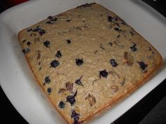 Blueberry coconut oatcake.  Gluten-free, low-cal, low-fat, and completely delicious.  Make for breakfast or snack dessert.
