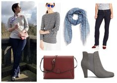 Librarian for Life + Style   Striped + pops of red outfit collage