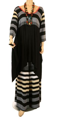 Yiannis Karitsiotis Idaretobe Design Grey Stripe Asymmetric Tunic - Exclusive…