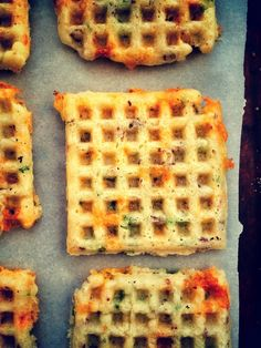 Bacon Cheddar Green Onion Waffles. ENOUGH SAID!  Recipe includes directions to make either #glutenfree / #eggfree or #Paleo