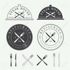 ビンテージ レストラン ベクトルのロゴ、バッジ、エンブレムのセット ロイヤリティフリークリップアート、ベクター、ストックイラストレーション。. Image…