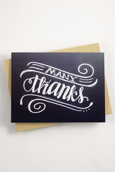 """Say thank you with this card that features my hand drawn, original lettering. ♥ DETAILS - s i z e : (1) card measuring approx. 4.25"""" x 5.5"""" (when folded) - printed on 120# Cover stock with a matte fin"""