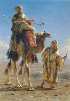 Carl Haag (1820-1915) GERMAN THE SHEIKH AND HIS GUIDE signed and dated Carl Haag 1875 lower right; titled lower left watercolour over pencil on paper 52 by 36cm., 20½ by 14¼in.