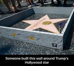 Someone built this wall around Trump's Hollywood star