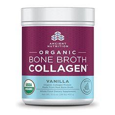 AZ: Ancient Nutrition Organic Bone Broth Collagen, Vanilla Flavor 1#@$54 Dr. Axe. Chocolate also avail, sometimes plain.