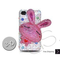 Rabbit 3D Bling Swarovski Crystal iPhone 5 Case - White
