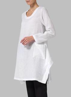 Linen Long Sleeve Top White