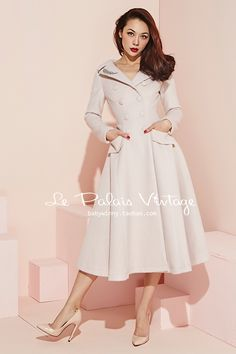 Aliexpress.com : Buy Le Palais Vintage 2017 Spring New Ivory White V Neck Lapel Was Thin Double Breasted Large Swing Skirt Elegance Woolen Coat Women from Reliable woolen coat women suppliers on Mr. and miss
