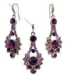 Purple Wedding Jewelry Set Art Deco Earrings Amethyst Bridal Swarovski Crystal Bridesmaid