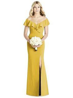 Social Bridesmaids Style 8190 in Marigold. Dessy Group Bridesmaids