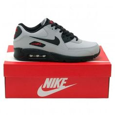 Nike Air Max 90 Essential Wolf Grey Black Uni Red - Mens Shoes from Attic Clothing UK