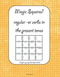 A Magic Squares puzzle of 6 common -ER verbs in the Present Tense!    The 6 verbs in this puzzle have regular conjugations and are great for students just beginning to learn -er verb
