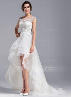 [US$ 228.99] Forme Princesse Col rond Traîne asymétrique Tulle Dentelle Robe de mariée avec Emperler Fleur(s)