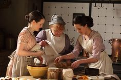 In the kitchen at Downton Abbey - I loved how Lady Grantham enjoyed watching Sybil cook and told Carson not to spoil the surprise.
