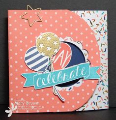 Stamps: Balloon Bash  Paper: Whisper White, Night of Navy, Birthday Bash dsp  Ink: Night of Navy, Bermuda Bay, Calypso Coral, Versamark  Accessories: 1 3/4″ Scallop Circle Punch, Circle Framelits, Oval Framelits, Gold Embossing Powder, Basic Hodgepodge Clips, Dimensionals