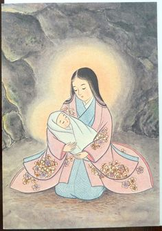 Beautiful religious blank card featuring a Japanese Madonna with Child.  Printed on beautiful Japanese washi paper.  Size: 4.25 X 6.25 in (11 X 16