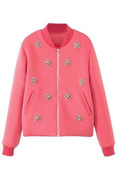 pink embellished bomber $45