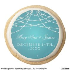 Wedding Favor Sparkling String Turquoise Round Shortbread Cookie