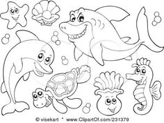 Ocean Animals coloring pages for kids | Coloring Pages | Pinterest ...