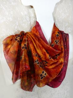 Red orange hand-painted silk scarf Long by WhisperOfSilk on Etsy
