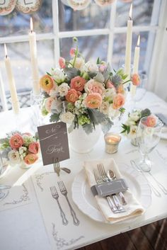 #peach and #grey #wedding tablescape.... Peach for bridesmaids exchange grey for brown for grooms men