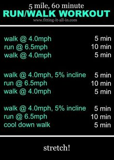 5 Mile 60 Minute Run Walk Workout is a middle ground between really tough and too easy. Plus you can watch a full TV show during it:) Best Treadmill Workout, Running Workouts, Workout Fitness, Walking Workouts, Running Tips, Elliptical Workouts, Hiit, Walking For Health, Walking Exercise