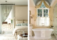 Delicate chandeliers, luxurious curtain drapes, and wall scones with ivory shades create elegant and traditional-style spaces. Transitional Home Decor, Transitional Living Rooms, Transitional Style, Transitional Kitchen, Contemporary Bedroom Furniture, Contemporary Home Decor, Traditional Interior, Traditional Design, Furniture Styles