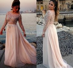 Elegant Chiffon Long Evening Dress Long Sleeve 2014 Plus Size Formal Women Dresses with Sleeves Prom Vestido De Fiesta Crystals-in Evening Dresses from Apparel & Accessories on Aliexpress.com | Alibaba Group