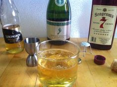 Seven Archers (drink)  Ingredients:       Highball Glass     Fist full of Ice     1/2 shot Seagram's Seven     2 shots Strongbow Gold Cider     BareFoot Moscato Spumante Champagne    Drink, Bake, Enjoy!      #Seagram'sSeven #BarefootMoscato #NewYearsEve  #Drink #Cookbook #Booze