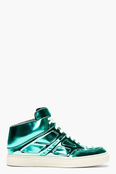 ALEJANDRO INGELMO Aqua Metallic Patent Leather TRON SPECCHIO SNEAKERs