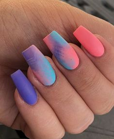 40 Unique Matte Nail Ideas to Makeup Your Short Or Long Nails – Page 34 of 40 – Latest Fashion Trends For Woman Glow Nails, Aycrlic Nails, Swag Nails, Matte Nails, Coffin Nails, Summer Acrylic Nails, Best Acrylic Nails, Summer Nails, Fancy Nails