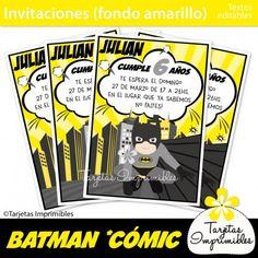 Invitaciones de cumpleaños temáticos Batman. Batman kit de decoraciones de fiesta imprimibles. Banderines, etiquetas para candy bar, cajitas, tarjetas de invitación para cumpleaños y mucho más! #batman #imprimiblesbatman #batmanprintables #batmanpartyideas #cumpleaños batman #batmanparty #cumpleañosbatman #superheroes #superheroesbatman