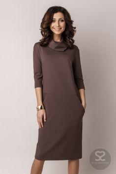 Модели свободных платьев от бренда OLGA SKAZKINA. Прямое платье до колен можно купить на сайте дизайнера. | Skazkina
